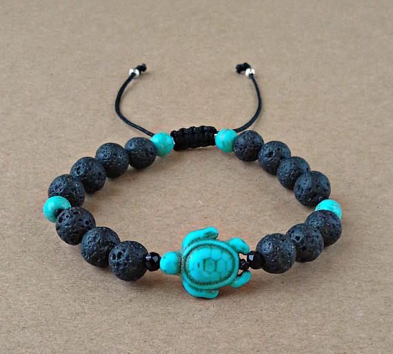 Black Lava Bracelet Turtle Bracelet Turquoise Howlite