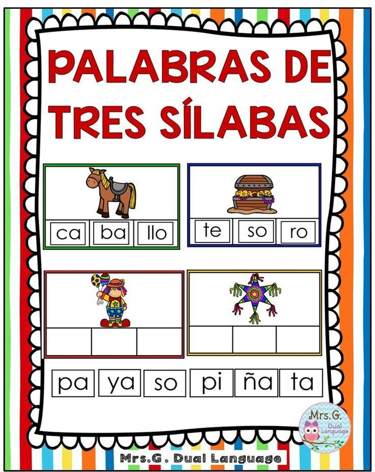 PALABRAS DE TRES SĺLABAS Palabras Trisílabas. Making words activities in Spanish for bilingual and dual language classes.