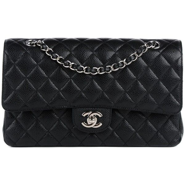 CHANEL Caviar Quilted Medium Double Flap Black ❤ liked on Polyvore featuring bags, handbags, shoulder bags, quilted leather handbags, genuine leather handbags, quilted leather purse, quilted chain shoulder bag and quilted handbags