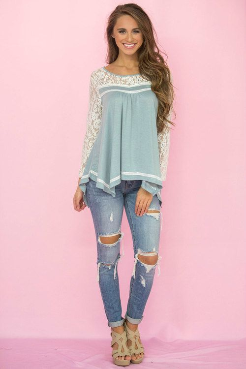Romantic Ballad Lace Blouse Dusty Aqua - The Pink Lily