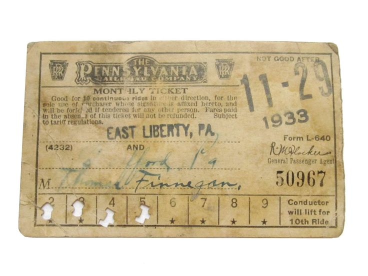 1933 PRR Pennsylvania Railroad Co. Monthly Ticket Pittsburgh PA Passenger Train Ticket East Liberty PA by CollectionSelection on Etsy, SOLD