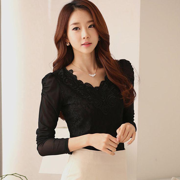 blusas de renda 2015 v neck fashion sexy fall tops crochet lace blouse long sleeve shirt women casual plus size womens clothing