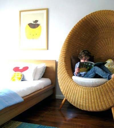 Egg nook.  If a chair is big enough to completely engulf you, it counts as a nook. (from Delightful Children's Books, http://delightfulchildrensbooks.com/2012/06/25/reading-nook/)