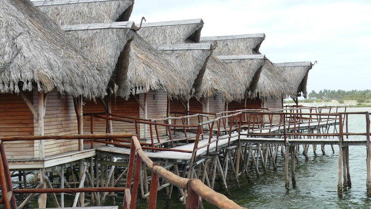 The rustic outside of the chalets at Flamingo Bay hides its spendid inside.......