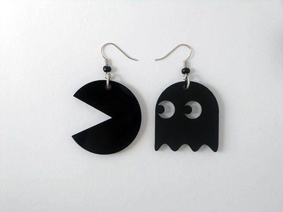Pacman earrings Black laser cut plexiglass Pacman by muchoshop, $15.00