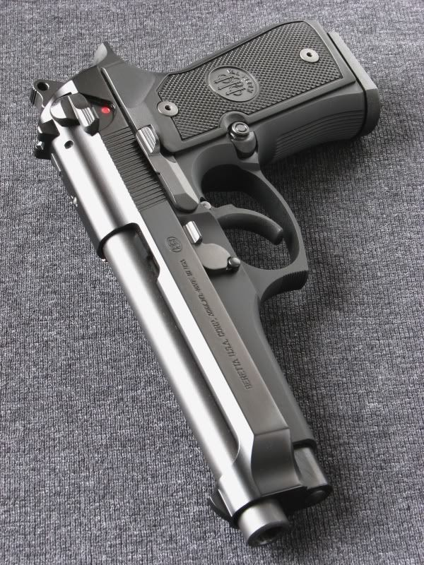 "Beretta 9mm for under the mattress. Surpasses the US military requirement of a 10-shot group of 3"" or less at 50 meters. Accurate, reliable with build quality second to none."
