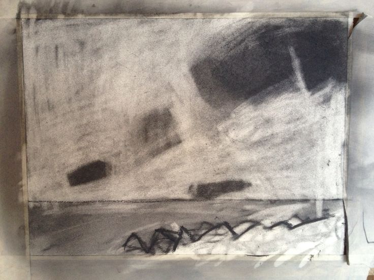 Sketchbook. Clouds, Sea. Charcoal on Paper