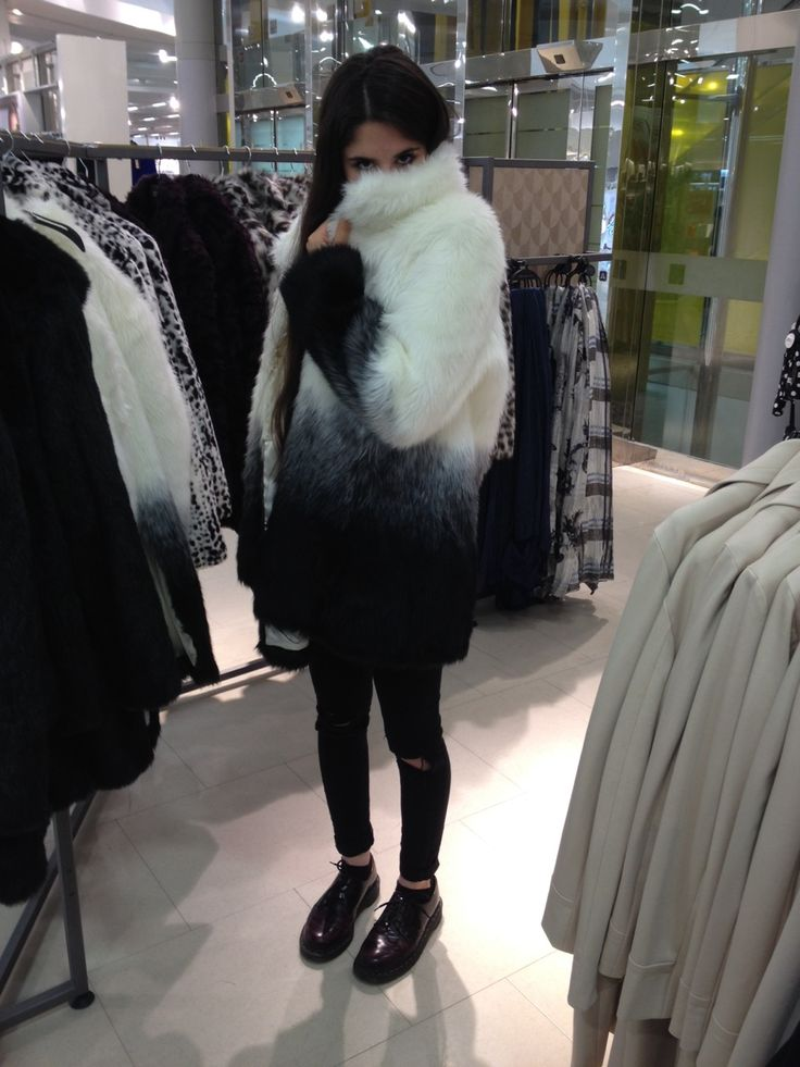 Furry jackets and black jeans
