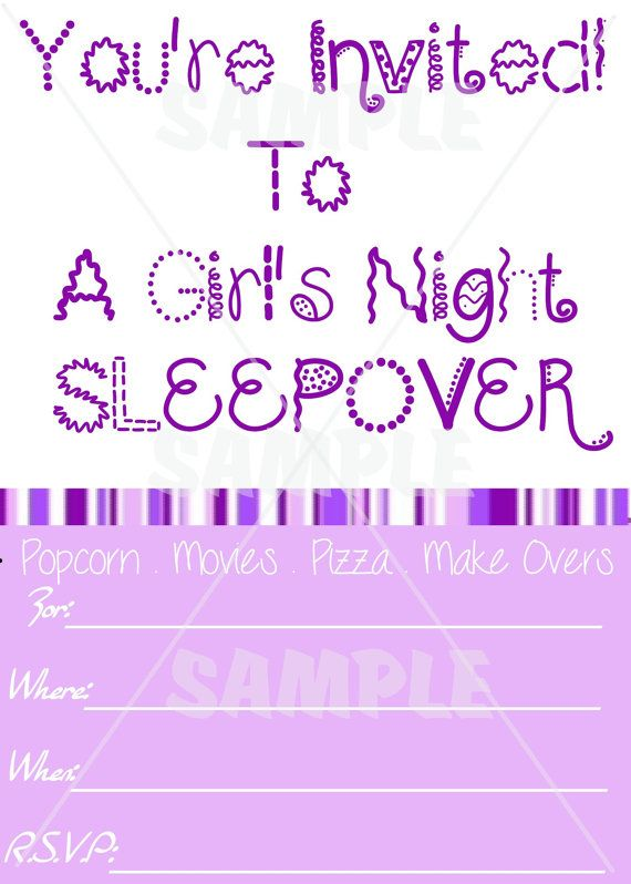 BLANK Purple Girl's Sleepover Invitation by Unit35Boutique ...