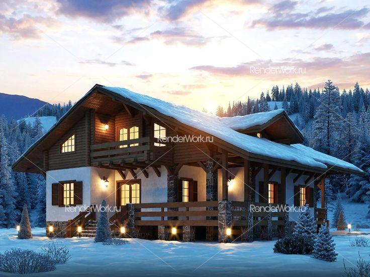 визуализация дома шале в горах