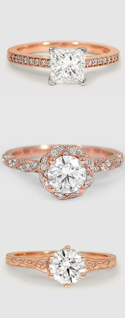 Warm rose gold adds a vintage feel to our uniquely designed engagement rings.
