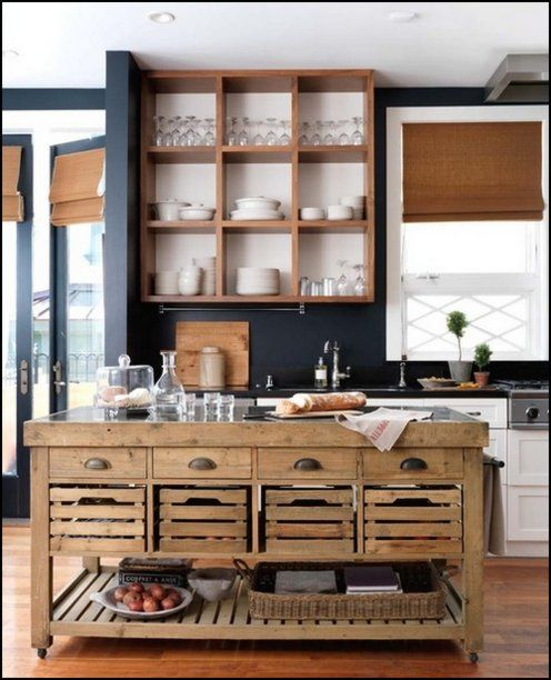 kitchen island on wheels! could DIY this easily- via Content in a Cottage
