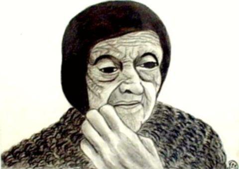 Száz év magány - Emberek szénrajzok Fejkendős, ráncos, idős nő