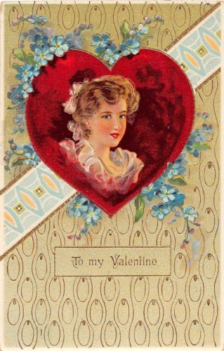 C2-Valentine-039-s-Day-Love-Holiday-Postcard-c1910-Gold-Lined-Woman-Heart-17