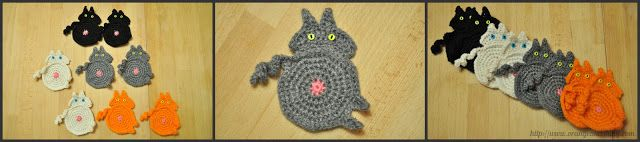 Orange and Shiny: Crochet Cat Butt Coasters from a pattern by Upper Crust Crochet