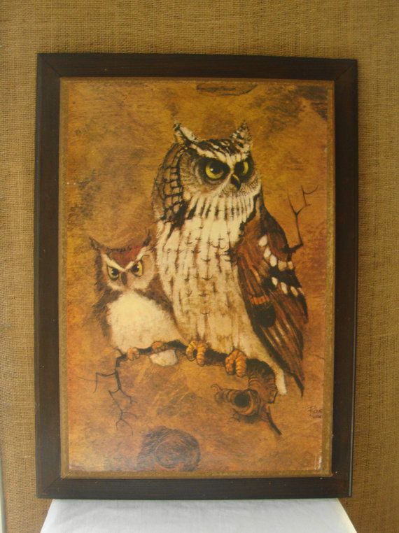 vintage owls 1970s homco picture art wall hanging richard