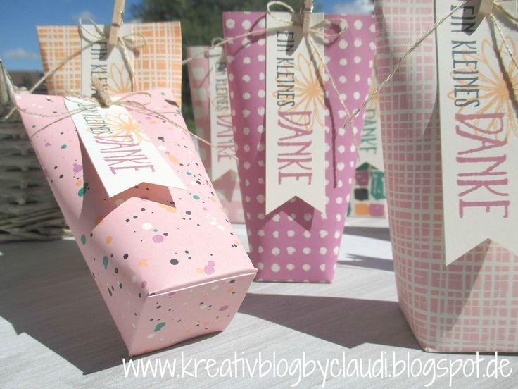 """Eine Verpackung auf die Schnelle: """"Box in a bag"""" - ein One Sheed-Schnittmuster dazu gibts bei Claudia Maser / kreativblogbyclaudi.blogspot,de"""