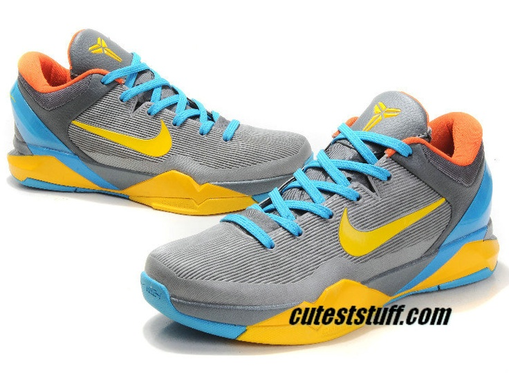 Nike Zoom Kobe 7 Shoes Dark Grey Vibrant Yellow Glass Blue Total Orange  488244 161