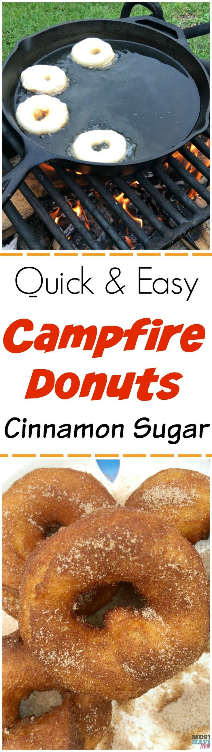 Easy campfire recipes! These campfire donuts are our kids favorite of all our camping recipes! Great camping breakfast or dessert idea. via @musthavemom