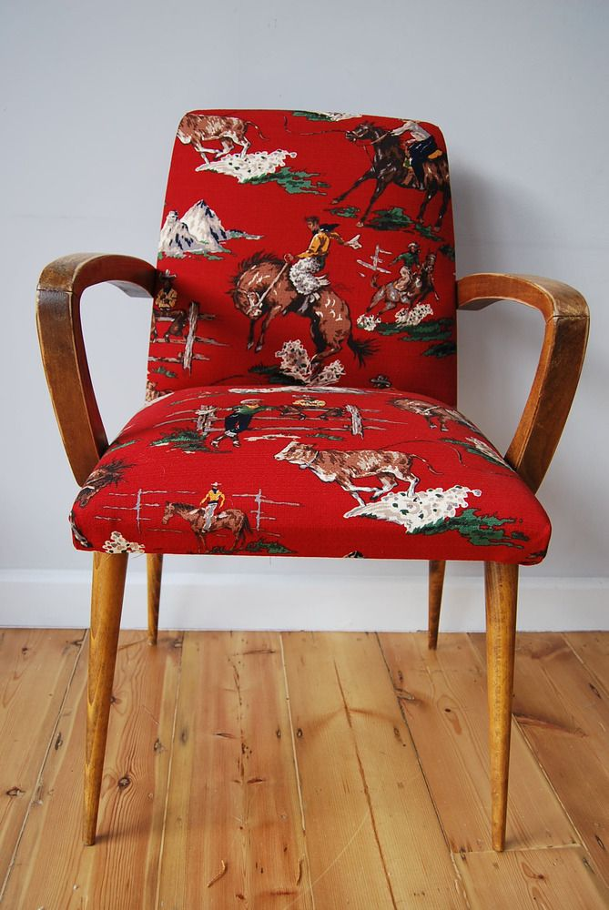 lostandfoundvintage — Fab retro 50's chair reupholstered in barkcloth SOLD £120
