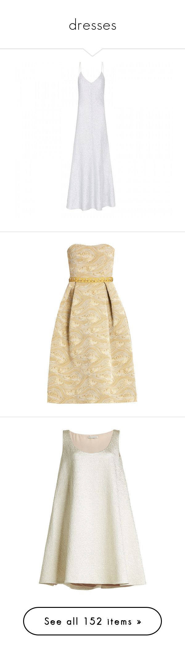 """""""dresses"""" by ashleyrcrocker ❤ liked on Polyvore featuring dresses, white slip dress, white color dress, white fit and flare dress, fit flare dress, white day dress, gold, long print dress, beige strapless dress and metallic jacquard dress"""