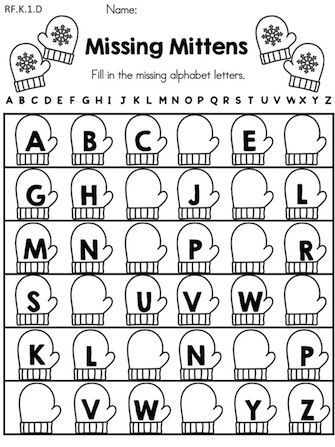Missing Mittens >> Write the missing letters of the alphabet >> Part of the Winter Kindergarten Literacy Worksheets packet