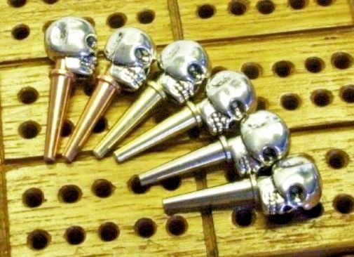 6-TIBETAN SILVER Metal Skull-Top ChristyMade Quality Cribbage Board Pegs & Pouch