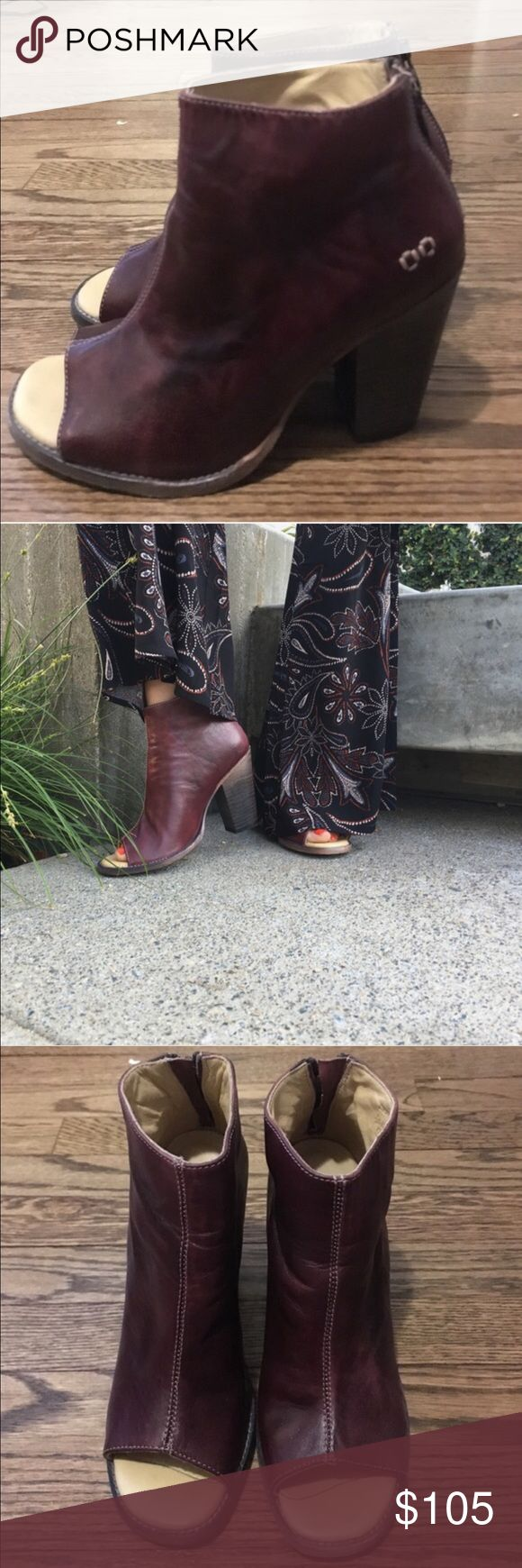 Heeled peep toe shoes Burgundy chunky peep toe booties. Real leather. Great condition, only worn once for a few hours Bed Stu Shoes Heels