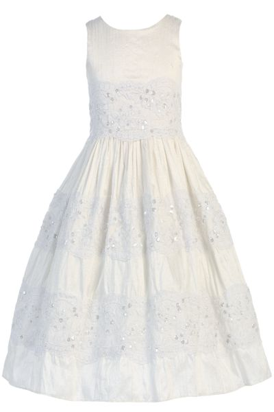 100% Silk & Lace First Holy Communion Dress (SP124)
