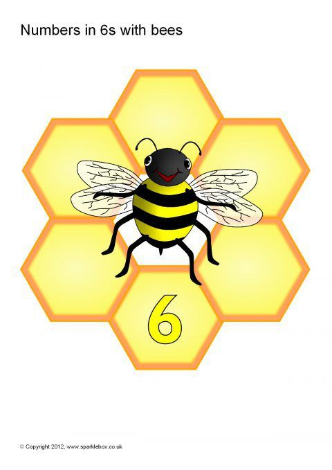 Numbers in 6s with Bees and Honeycomb Hexagons (SB7655) - SparkleBox