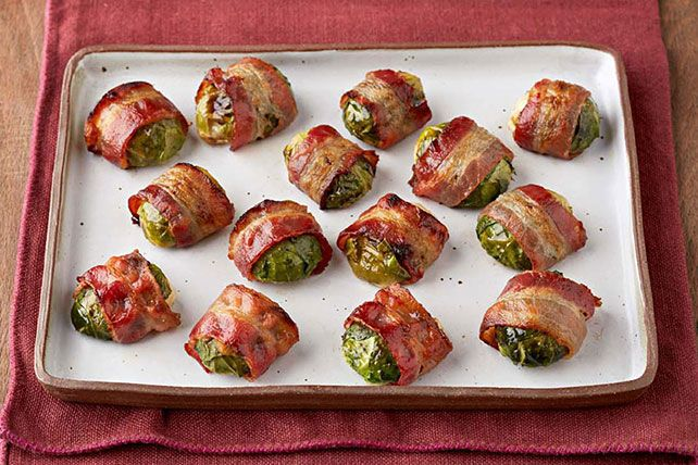 What are the best-dressed Brussels sprouts wearing this season? They're wrapped in bacon, darling—with a bit of honey mustard for extra flair.