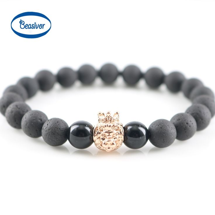 Crown Lion Charms Bracelet Men Lava 8mm Natural Agate Stone Bead Wristband With Skull Charm Bracelet Pulseira Masculina Bangles