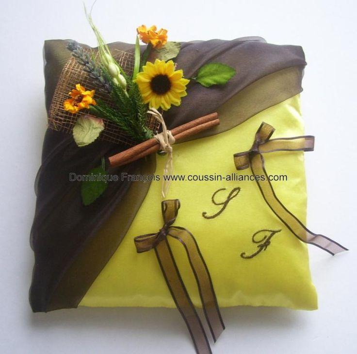 Coussin alliances champêtre provençal marron chocolat jaune tournesol