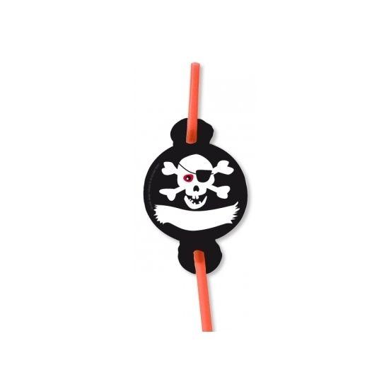 Rietjes piraten thema. Inhoud: 8 stuks. Leuke rietjes voor je piratenfeestje!