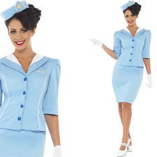 Ladies Cabin Crew Fancy Dress Costume - Air Hostess Flight Attendant Uniform
