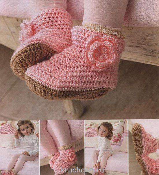 Delicadezas en crochet Gabriela: Botitas de niña