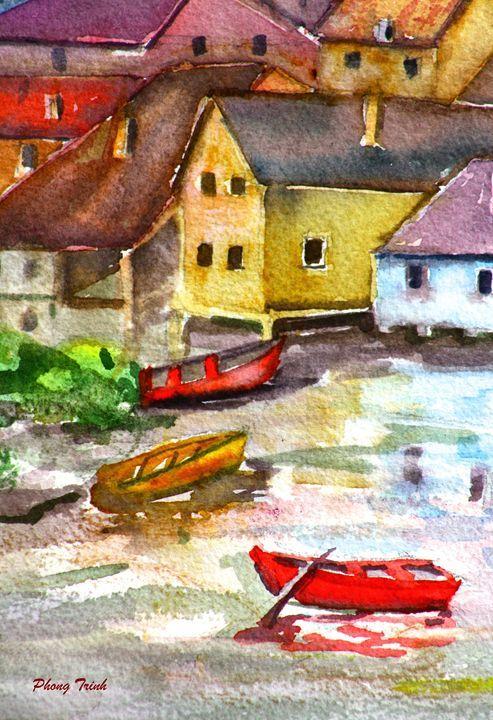 Lods Sur La Loue 21 - Phong Trinh Watercolor Fine Art Print Avail. At: http://www.artpal.com/phongtrinh/