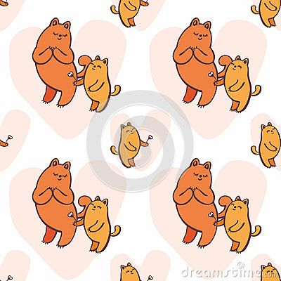 Children`s vector seamless pattern in cartoon style with the image of cute cats.