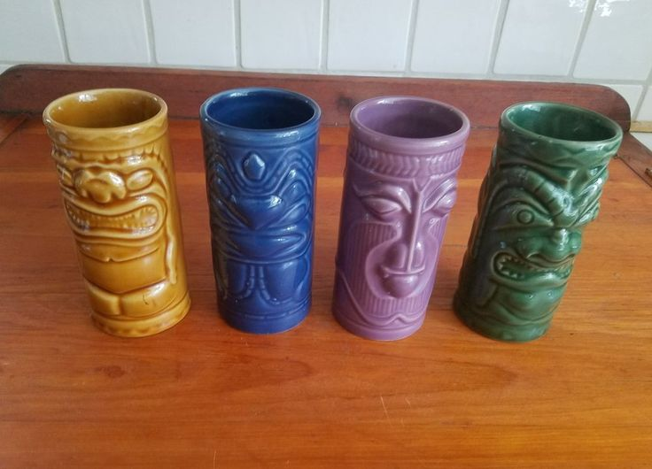 (4) Ceramic Hawaiian Tiki Statue Glasses/ Mugs/ Tumblers by Accoutremnts 2001