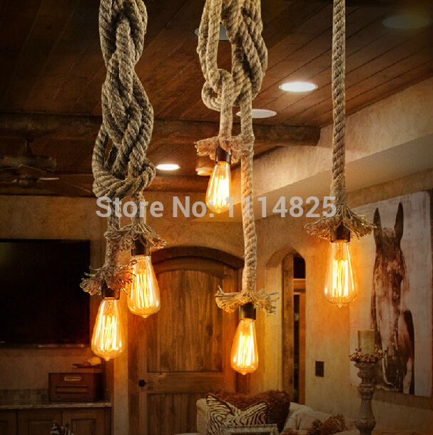Cheap lamps lighting com, Buy Quality lamp light kit directly from China lamp disk Suppliers: Free Shipping Vintage Rope Pendant Light Lamp Loft Creative Personality Industrial Edison Bulb American Style For Living