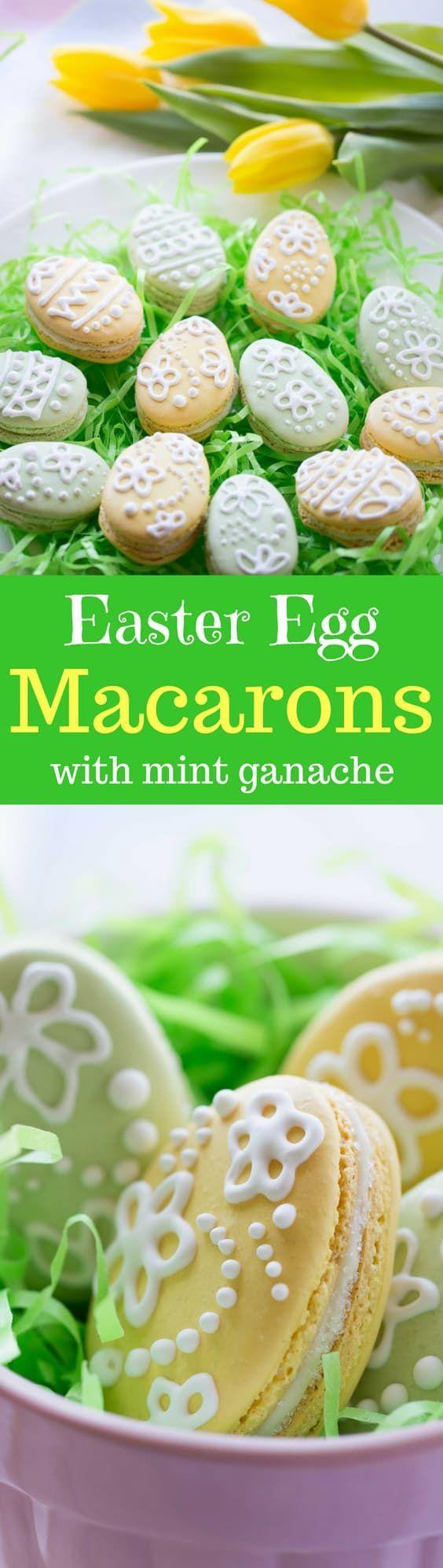 Easter Egg Macarons with White Chocolate-Mint Ganache ~ from www.savingdessert.com
