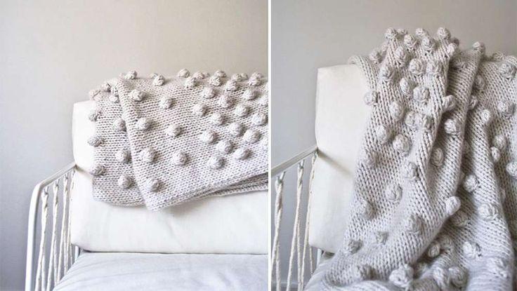 Plaid tricoté petites boules beige DIY