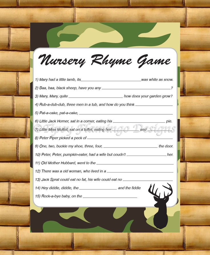 Baby Shower Game, Nursery Rhyme Game, Rhyming Game, Party Game Supplies, Camo, Green Camo, Deer, Hunting, Printable, Instant Download- TFD16 by TipsyFlamingoDesigns on Etsy https://www.etsy.com/listing/222631004/baby-shower-game-nursery-rhyme-game