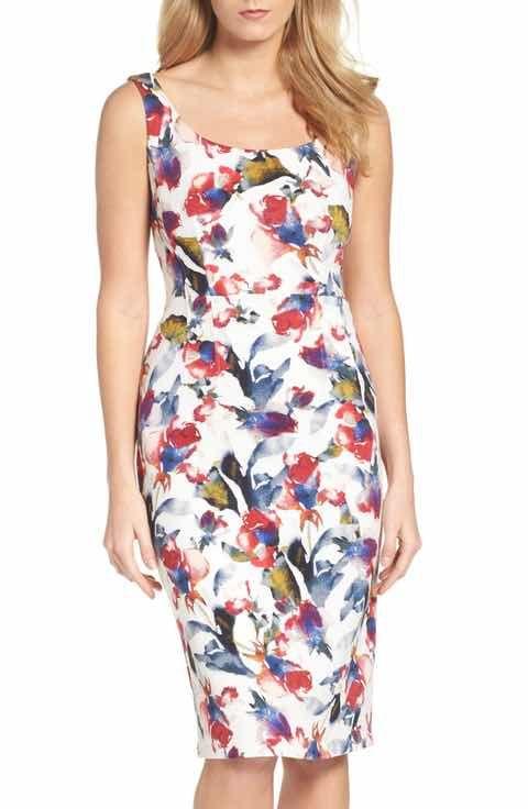 Maggy London Tea Rose Midi Dress (Regular & Petite)