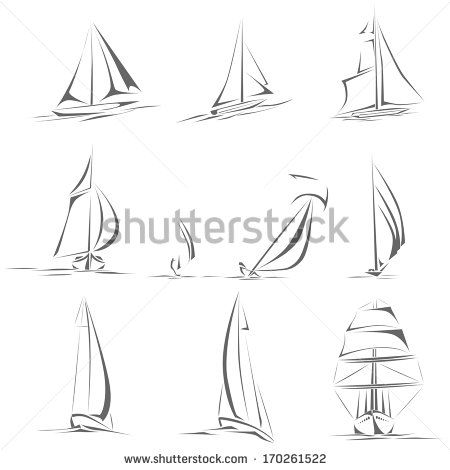 Set of different sailing ships(boat) icon in line style(simple vector).