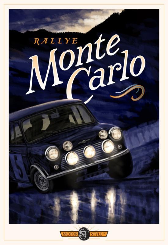 Jolie illustration // Rallye Monte-Carlo // Mini Cooper 1965 : http://artofrylee.com/2013/02/05/motor-style-inc-rallye-monte-carlo/