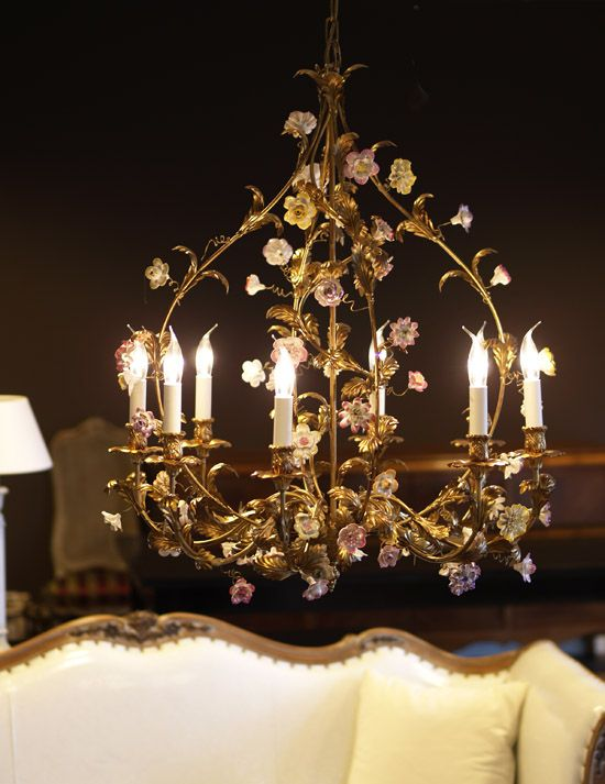 7 best classical chandeliers images on pinterest beautiful chandelier adorned with pink flowers hand crafted out of porcelain and delicately painted aloadofball Image collections