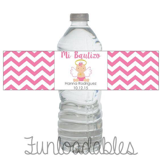 Mi Bautizo  Etiqueta de botella de agua  by Funloadables on Etsy