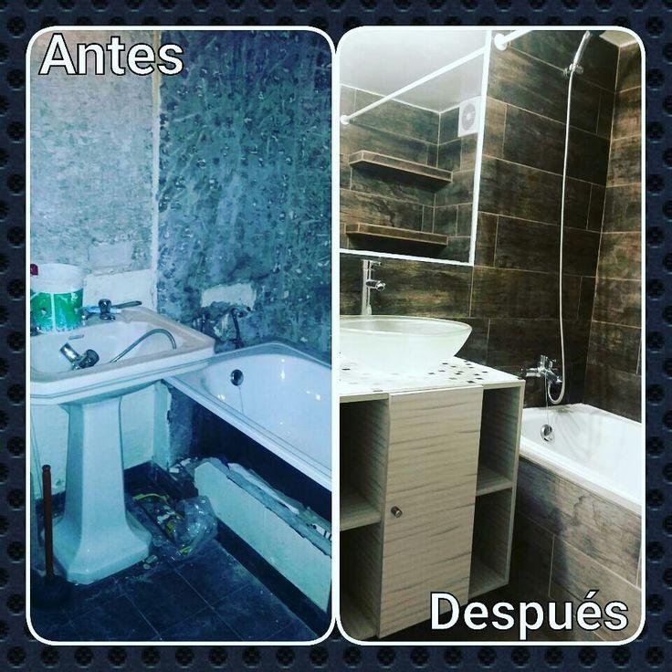 Diseño de baño  Antes y después Baño estilo spa rústico Mettox construcciomes Antofagasta-Chile