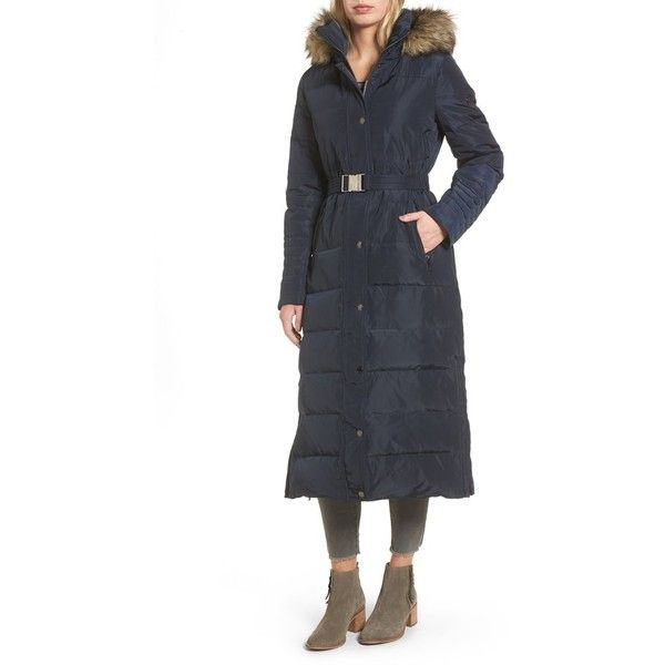 Women's Michael Michael Kors Water Resistant Maxi Puffer Coat With... (825 RON) ❤ liked on Polyvore featuring outerwear, coats, navy, shiny puffer coat, faux fur parka coat, faux fur puffer coat, navy puffer coat and maxi puffer coat